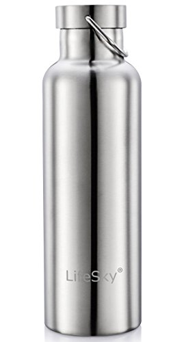 LifeSky Stainless Steel Water Bottle, Double Wall Vacuum Insulated Leak Proof Sports Bottle, Keep liquid Cold for up to 24 Hours, Wide Mouth,26 OZ