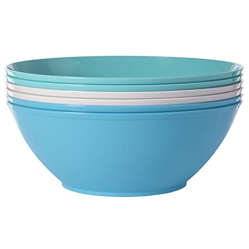 Fresco 10-inch Plastic Mixing and Serving Bowls | set of 6 in 3 Coastal Colors