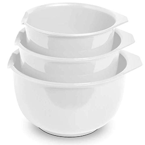 Glad Mixing Bowls with Pour Spout, Set of 3 | Nesting Design Saves Space | Non-Slip, BPA Free, Dishwasher Safe | Kitchen Cooking and Baking Supplies, White