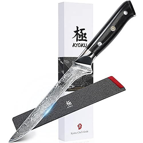 KYOKU Boning Knife - 7' - Shogun Series - Japanese VG10 Steel Core Forged Damascus Blade - with Sheath & Case