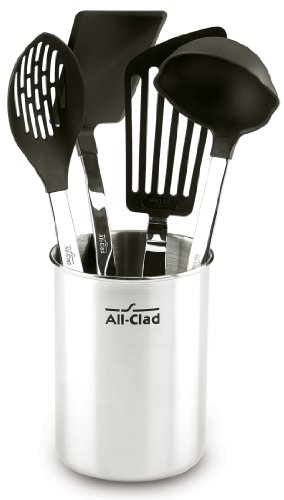 All-Clad Scratch & Heat-Resistant Nylon Tools with Stainless Steel Handles and Caddy, 5-Piece