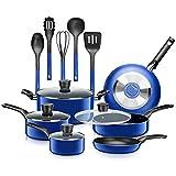 SereneLife Kitchenware Pots & Pans Basic Kitchen Cookware, Black Non-Stick Coating Inside, Heat Resistant Lacquer (15-Piece Set), One Size, Blue