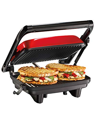 """Hamilton Beach Electric Panini Press Grill with Locking Lid, Opens 180 Degrees for Any Sandwich Thickness, Nonstick 8"""" X 10"""" Grids, Red (25462Z)"""