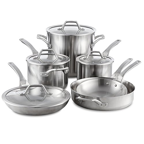 Calphalon Signature 10 Piece Set|Stainless Steel Cookware, Silver