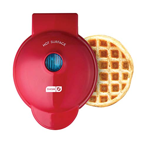 Dash DMW001RD, Mini Waffle Maker Machine for Individuals, Paninis, Hash Browns, & Other On the Go Breakfast, Lunch, or Snacks, with Easy to Clean, Non-Stick Sides, 4 Inch, Red