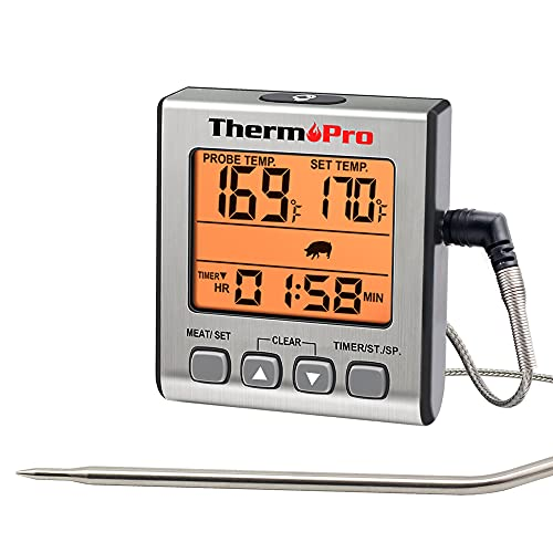 ThermoPro TP16S Digital Meat Thermometer for Cooking and Grilling, BBQ Food Thermometer with Backlight and Kitchen Timer, Grill Temperature Probe Thermometer for Smoker, Barbecue, Oven, Baking,Oil