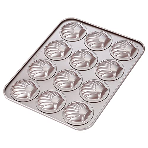 CHEFMADE Madeleine Mold Cake Pan, 12-Cavity Non-Stick Scallop Madeline Bakeware for Oven Baking (Champagne Gold)