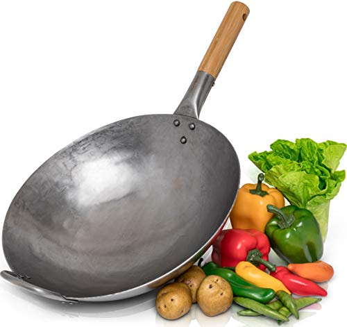 Traditional Hand Hammered Carbon Steel Pow Wok with Bamboo and Steel Helper Handle - 14 Inch, Round Bottom by Chef's Medal