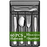 Silverware set, 60-Piece Flatware tray Cutlery Set with Drawer Organizer, Kitchen Stainless Steel Modern Utensils Service for 10, Include Knife Fork Spoon, Mirror Polished,Dishwasher Safe