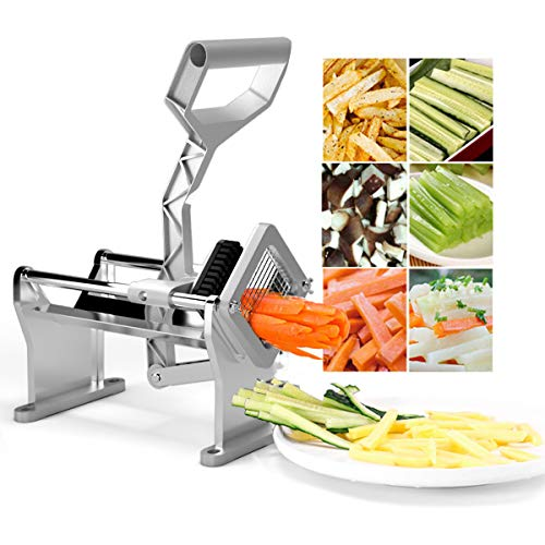 """Goplus French Fry Cutter Fruit Vegetable Potato Slicer Commercial Grade W/ 4 Different Size Stainless Steel Blades 1/4"""", 1/2"""", 3/8"""" and a Round Blade"""