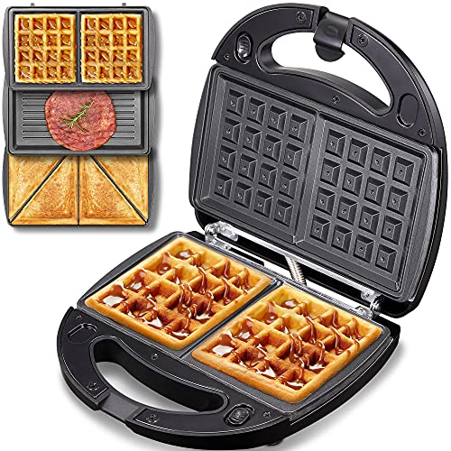 Sandwich Maker 3-in-1, Compact Waffle Maker, Sandwich Toaster Grill with Detachable Non-stick Coating, LED Indicator Lights, Cool Touch Handle, Anti-Skid Feet, Black