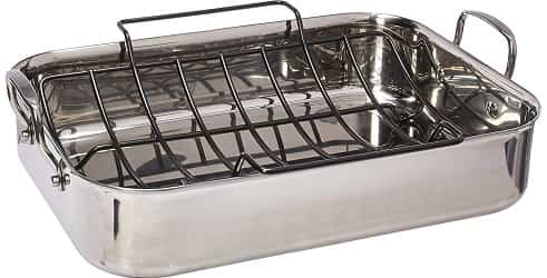 Anolon Tri-Ply Clad Stainless Steel 17-Inch by 12.5-Inch Large Rectangular Roaster