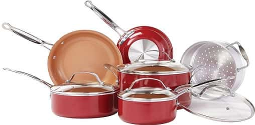 BulbHead (10824) Red Copper 10 PC Copper-Infused Ceramic Non-Stick Cookware