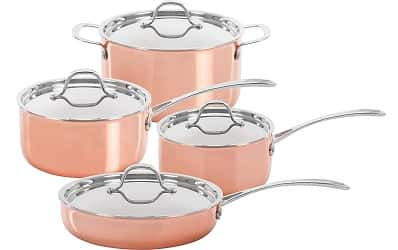 CONCORD 8 Piece Triply Natural Copper Premium Cookware Set