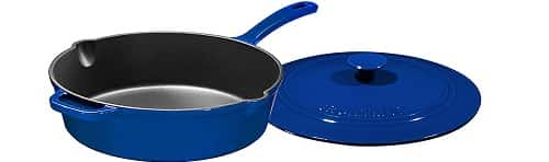 Enameled Cast Iron Skillet Deep Sauté Pan with Lid