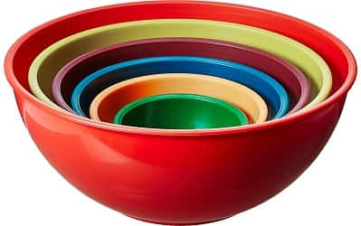 Gourmet Home Products 6-Pc Nested Polypropylene Mixing Bowl Set