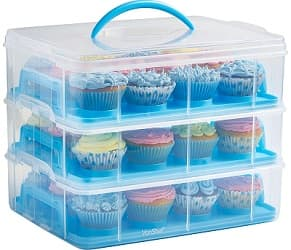 VonShef Snap and Stack Blue 3 Tier Cupcake Carrier