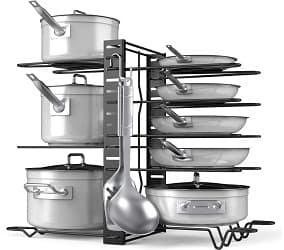 Pot Rack Organizer-Adjustable 8+ Pots and Pans Organizer